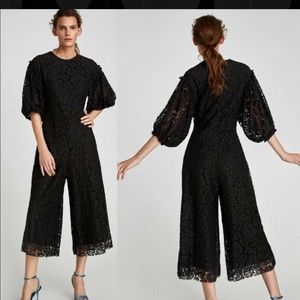 Zara cropped lace jumpsuit with sleeves